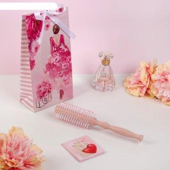 Подарочный набор «девушка-перья», 2 предмета: зеркало, брашинг, цвет микс