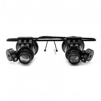 Лупа-очки kromatech налобная бинокулярная 20x, с подсветкой (2 led) mg9892