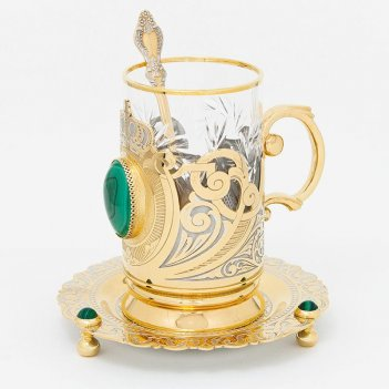 Чайный набор корона малахит