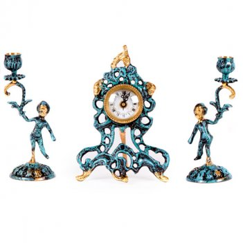 Часы настольные малые с канделябрами на 1 свечу, набор из 3 предм.