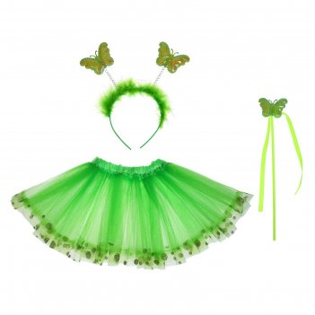 Карнавальный набор бабочка 3 предмета: жезл, ободок, юбка двухслойная