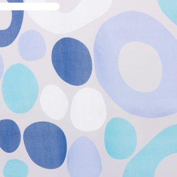 Тюль этель калейдоскоп (цвет голубой) без утяжелителя, ширина 135 см, высо