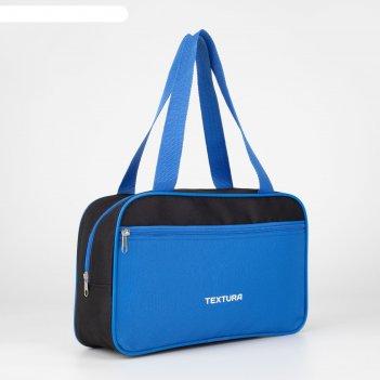 Сумка для обуви, отдел на молнии, наружный карман, цвет синий/чёрный