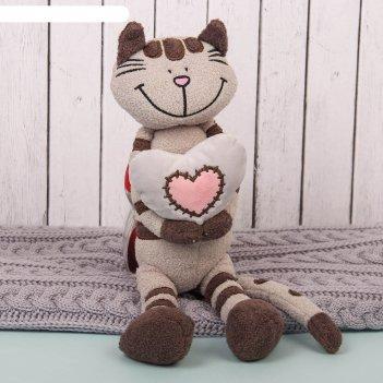 Мягкая игрушка кот полосатик с сердцем, 33 см