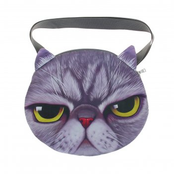 Мягкая сумка котик серый