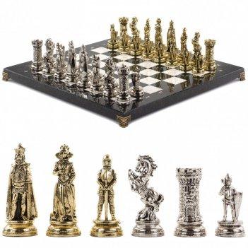 Шахматы настольные средневековые рыцари доска 44х44 см из камня мрамор