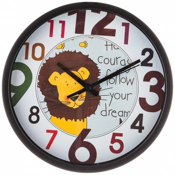 Часы настенные кварцевые лев диаметр=20 см. диаметр циферблата=18 см. (кор