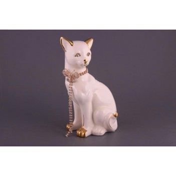 Фигурка кошка белая высота=25см