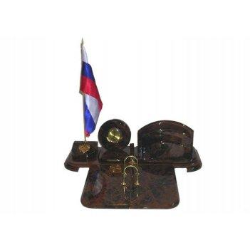 Настольный набор. часы, флаг, подставка под ежедневник, держ