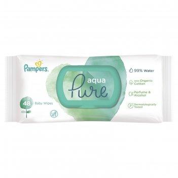 Детские влажные салфетки pampers aqua pure, 48 шт.