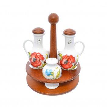 Набор для специй nuova cer 5 предметов (2 бутылки для масла + солонка + пе