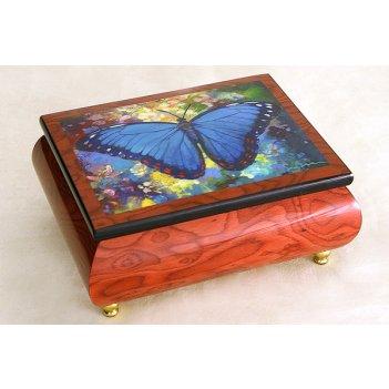 Музыкальная шкатулка голубая бабочка