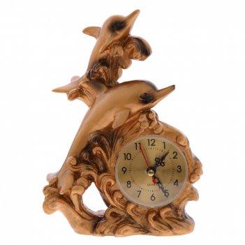 Часы настольные декоративные дельфины, l15 w7 h21 см, (1хаа не прилаг.)