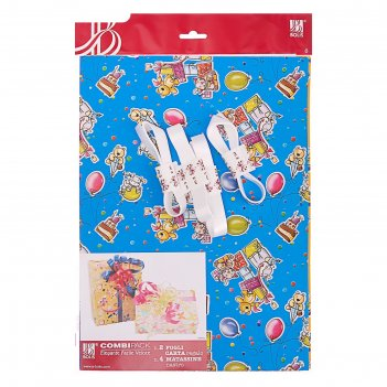 Набор для упаковки, детский праздник, крафт, жёлтый, 0,7 х 1 м х 2, лента