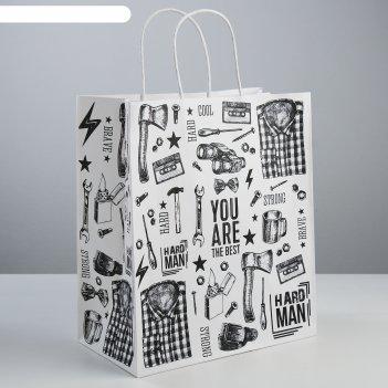 Пакет подарочный крафт hard man, 28 x 32 x 15 см