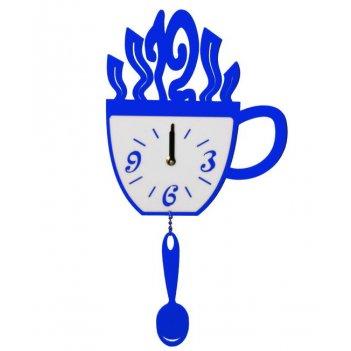 Часы кухонные чашка и ложка cl152 44х22см синие
