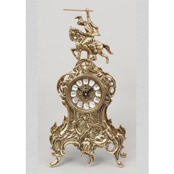5060 бронзовые часы всадник зол. 37х18см
