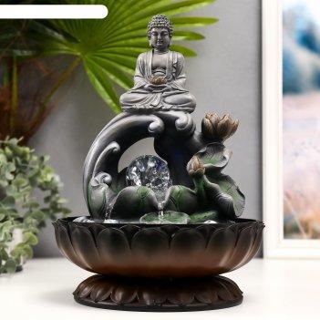 Фонтан настольный от сети, подсветка серый будда на волне 34х23х23 см