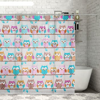 Штора для ванной совушки, 180х180 см, eva