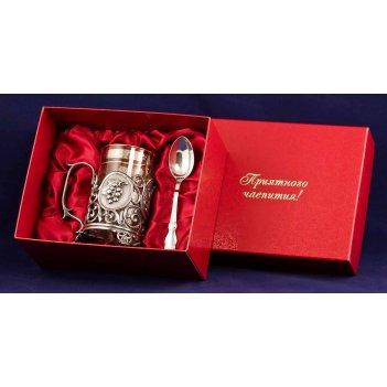 Набор для чая чай. малина (3 пр.) серебро(латунь,покрытие-серебро, картон.