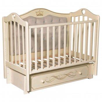 Детская кровать karolina-10, мягкая спинка, маятник, ящик, цвет слоновая к