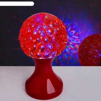Световой прибор хрустальный шар кубок, диаметр 10 см, 220 в, красный