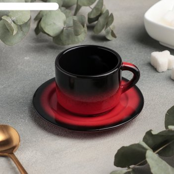 Кофейная пара: чашка 80 мл с блюдцем 6 см, h 4,7 см rosa rossa