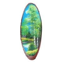Картина лето на срезе дерева, каменная крошка