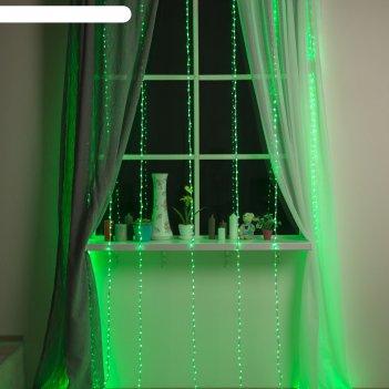 Гирлянда дождь ш:2 м, в:3 м, нить силикон, led-800-220v, контр. 8 р, зелен