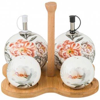 Набор для специй 4 пр.на деревянной подставке коллекция цветочная симфония