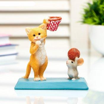 Сувенир полистоун миниатюра кот и мышка играют в баскетбол 10х5,9х10,5 см