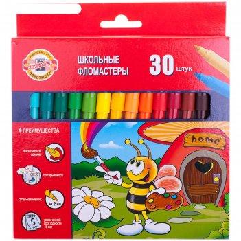 Фломастеры трехгранные 30 цветов пчелка, европодвес