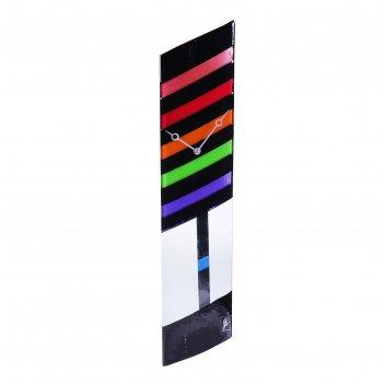 Часы настенные с маятником разноцветные полосы