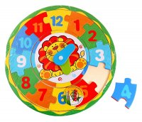 Часы пазл львёнок учит цифры