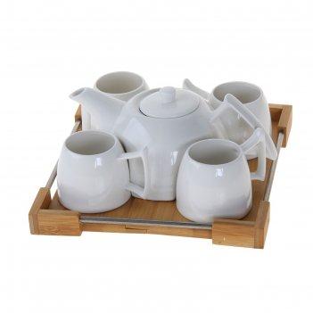 Сервиз чайный эстет, 5 предметов на подставке: 4 чашки 180 мл, чайник 600