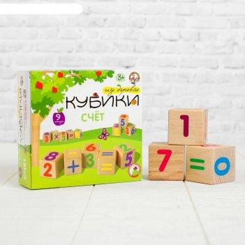 Кубики деревянные счет 9 шт (цв.цифры на неокр. кубиках)  01699