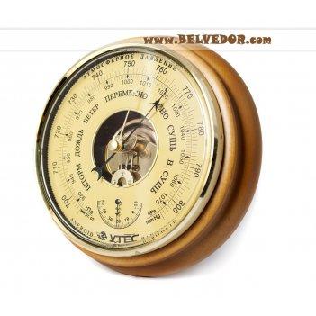 Барометр термометр бтк-сн 8,шлифованное золото  размер 21х5см