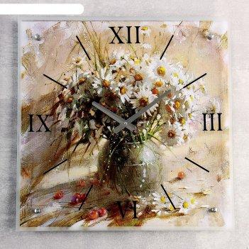 Часы настенные, серия: цветы, ваза с белыми ромашками, 50х50  см, микс