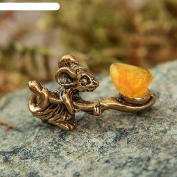 Сувенир кошельковый  мышка с полной ложкой, с натуральным янтарём