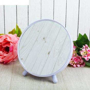 Зеркало на ножке пластик круг (1) без увел d17*18см микс