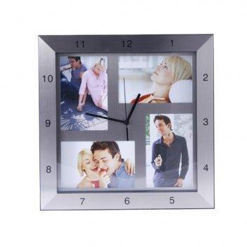 Часы с фоторамкой для 4 фотографий (10х15 см), 33х33х4 см
