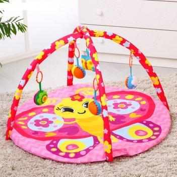 Коврик развивающий «бабочка», 85х85 см, дуги, 5 игрушек