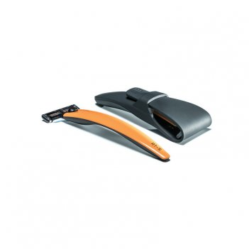 Подарочный набор bolin webb r1, бритва r1-s оранжевая, дорожный чехол