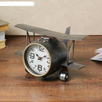 Часы настольные, серия: транспорт, самолёт с двойными крыльями, 26.5х15х19