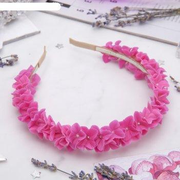 Ободок для волос ручной работы розовый