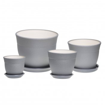 Набор кашпо флорис 4 шт: 12,3л, 5,5л, 3,5л, 1,2л муар серебро