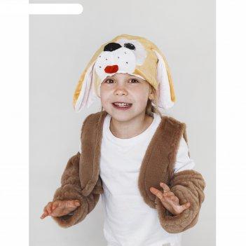 Карнавальный костюм собачка  меховой жилет, унты , шапка, р-р28