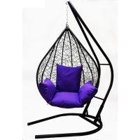 Подвесное кресло на стойке алания, черное/фиолетовая