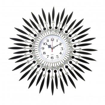 Часы настенные серия ажур лучи-перья, черные, бел циферблат, араб цифры, 5