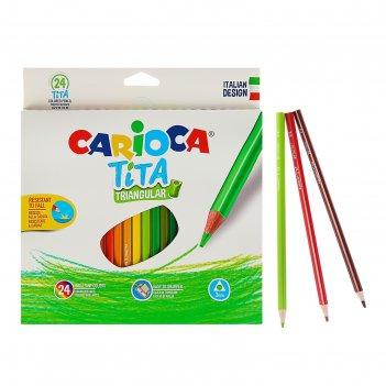 Карандаши пластиковые 24 цвета carioca tita 3.0 мм трехгранные, картонная
